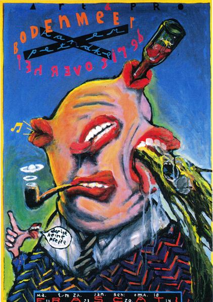 Poster De Rit over het Bodenmeer. Design Frits van Hartingsveldt. Silkscreen, A0, A1. 1988.