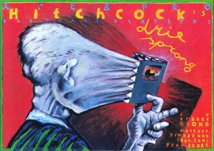 Poster Hitchcocks Driesprong. Design Frits van Hartingsveldt. Silkscreen, A0, A1. 1987.