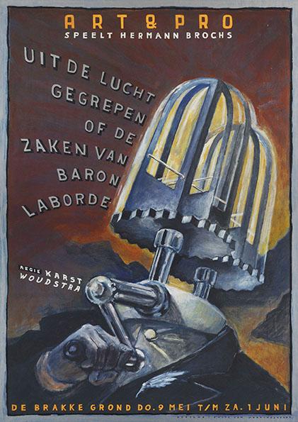 Poster Uit de Lucht gegrepen. Design Frits van Hartingsveldt. Silkscreen, A0, A1.